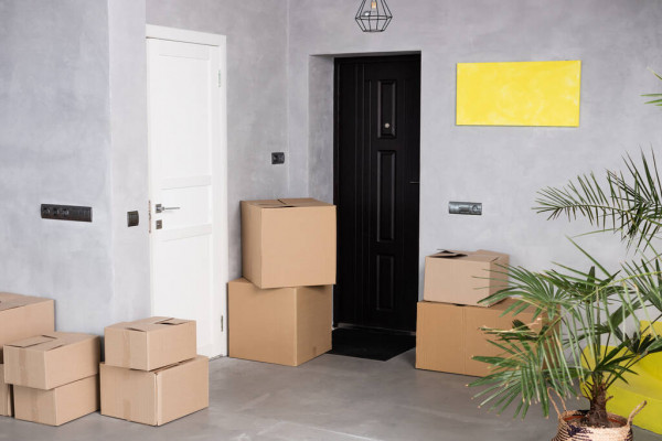Boxes at the apartment door